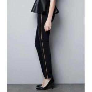 Zara Basics Black Gold Stripe Slip On Trousers